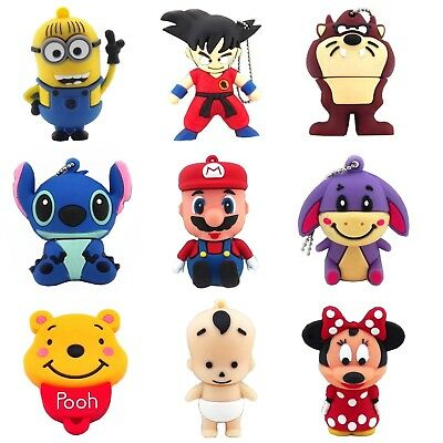 16GB 32GB Cartoon Minions Stitch Mario Bear Gouku USB Flash Drive Memory Stick
