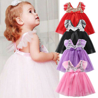 AU Infant Baby Girl Birthday Wedding Pageant Party Princess Lace Bow Tutu Dress