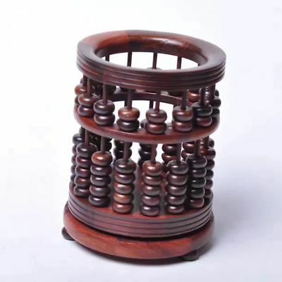 red hard wood rosewood China Abacus beads Rotatable brush pot Pen container