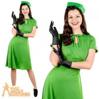 Adult 1940s Dress Costume WW2 Ladies Army Wartime Fancy Dress Outfit Womens