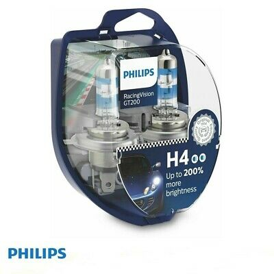 2 Lampade H4 Philips Racing Vision 12V 60/55W +150% Di Luce 12342Rvs2