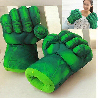 Pair Superhero Hulk Smash Hands Cosplay Gloves Plush Punching Boxing Fists Toys.