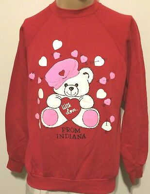 "True Vtg 1992 Pm Enterprises, Bear ""with Love From Indiana"" Hearts Sweatshirt Lg"