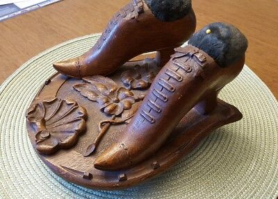 Antique 1800's Victorian Oak WOOD SHOES PIN CUSHION re Samuel MacIntyre Salem MA