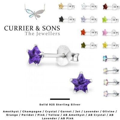 925 Sterling Silver Star Cubic Zirconia Stud Earrings (4mm)