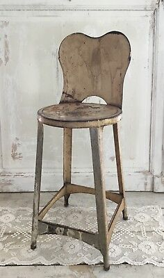 Amtique Cream Chippy Painted Metal Stool