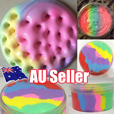 Rainbow Cotton Fairy Cloud Slime Fluffy Icecream Mud Stress Relief Kids Toy BO