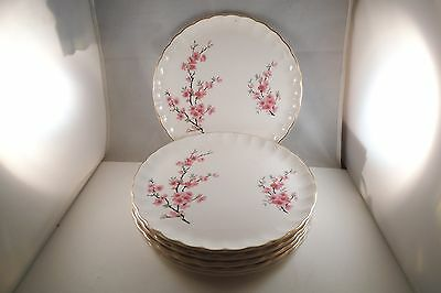 Vintage WS George Bolero Set of 6 Lunch Luncheon Plates Pink Flowers