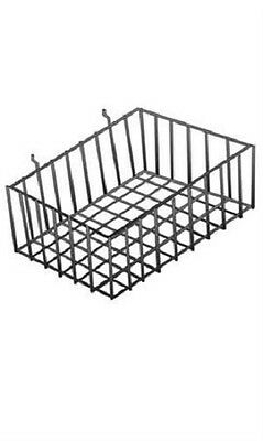 "5 Slatwall Baskets Wire 12'' x 8'' x 4"" Pegboard Display Basket Slat Wall Black"