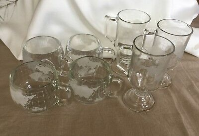 7 Vintage Nestle Nescafe Glass Globe Frosted  Coffee Tea Mugs (3 Footed,4 round)