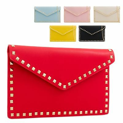 Ladies Stylish Fx Leather Studded Clutch Bag Party Evening Handbag Purse KL2287