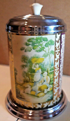 Chinese Tea tin caddy country life print chrome lid vintage 7x3.5 Inches approx