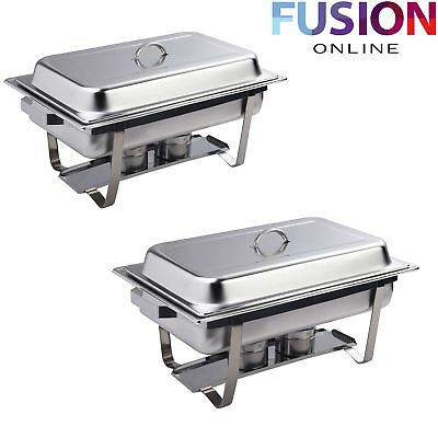 2 x CHAFING DISH STAINLESS STEEL FOOD WARMER CONTAINER CATERING BUFFET PARTY