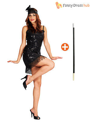 Ladies 1920s Sequin Flapper Costume + Holder Womens Charleston Size 10 12 14