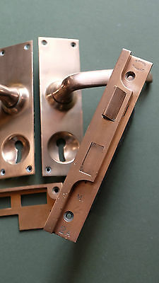 Antique English rebated mortice lock set complete with bronze handles GIBBONS