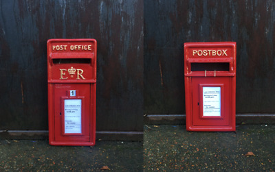 Royal Mail Red Cast Iron ER Postbox Front Option on Two Similar to GR and VR
