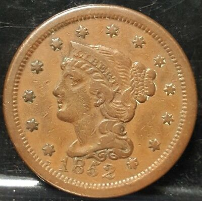 1852 Large Cent Braided Hair Nice Grade