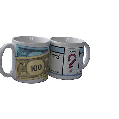 D25 Lot of 2 Collectible Monopoly Coffee Mugs Cup A High Roller Just Visiting