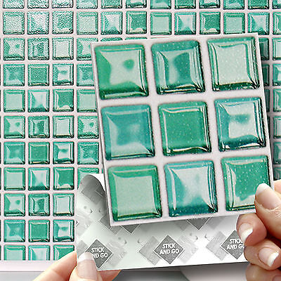 18 Green 'Glass' Stick On Self Adhesive Wall Tile Stickers Kitchen & Bathroom