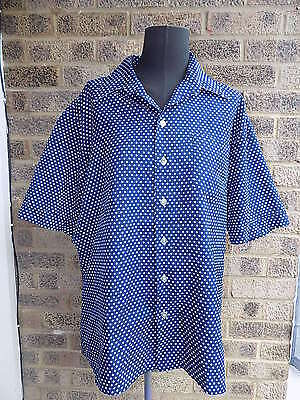 mens vintage 50s 60s blue white polkadot shirt Studio one by Campus ROCKABIILLY