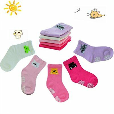 5 Pairs Baby Girl Anti-Slip Combed Cotton Socks Walker Non Skid for 12-36 Months