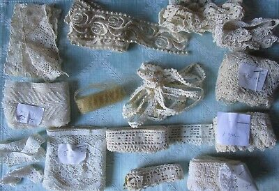 Lot Antique Victorian Embroidered Knitted Net Lace Trim Edgings Insertion Dolls