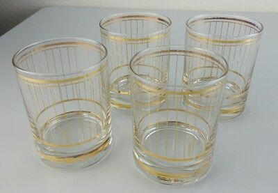 Vintage Culver Gold Stripe Whiskey Tumblers Reticulated Lowball Glasses Qty (4)