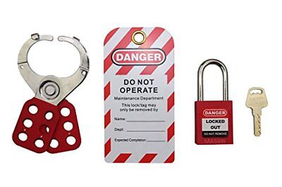 Mason Lockout Tagout Personal Starter Kit, Red Keyed Differently LOTO 1000 New