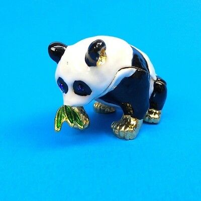 Panda Bear Hinged Trinket Box Enamel Painted Metal Panda and Bamboo Jewelry Box