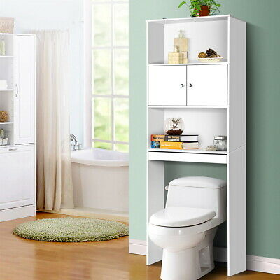 Over The Toilet Storage Bathroom Organizer Cabinet Towel Toilet Holder White
