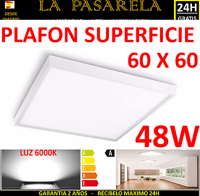panel led superficie cuadrado 48W 60x60 6000k blanco  plafon techo foco lampara