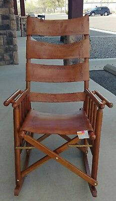 Vintage Leather Fold Up Costa Rican Rocking Chair & VINTAGE LEATHER FOLD Up Costa Rican Rocking Chair - $562.50 | PicClick