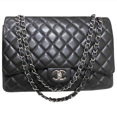 ccfc66beff9e Authentic Chanel Dark Grey Quilted Lambskin Jumbo Maxi Classic Double Flap  Bag
