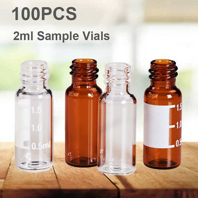 100pcs 2ml Auto-Sampler Vial Clear / Amber Glass Bottles Lab Vials Writing Area