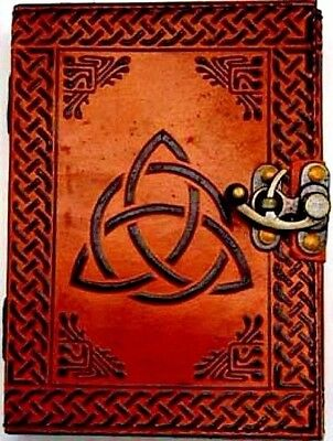 "Triquetra Leather Blank Book Of Shadows w/ Latch 5"" x 7"" Wicca Pagan Celtic"