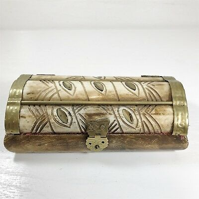 Antique Hand Made Wooden & Brass Fountain Pen Box Collectable Vintage Case Chest