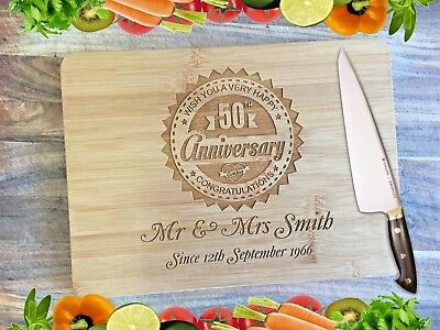 Engraved Bamboo Chopping Serving Board - Anniversary Board
