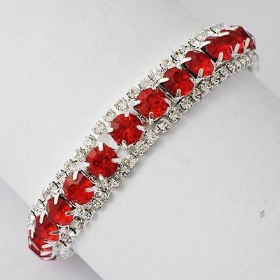 Charm White Gold Plated Silver Red Ruby Rhinestone Tennis Wedding Party bracelet