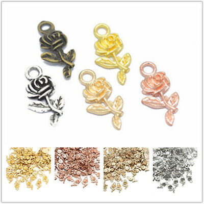 16pcs Metal Rose Flower Charms Pendant Findings for Jewelry Making Craft DIY Hot