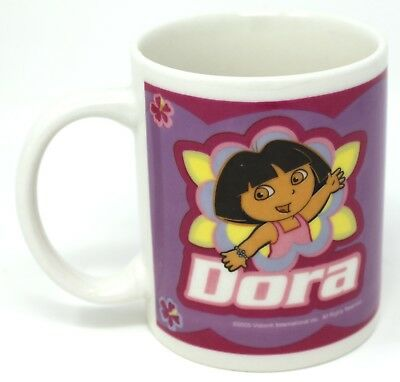 "Dora the Explorer Mug Super Star 3.75""   2005 purple white cup cocoa coffee tea"