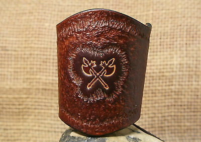 Bracelet Double Axe Punched Leather Brown Gauntlet Jewellery Viking Wide