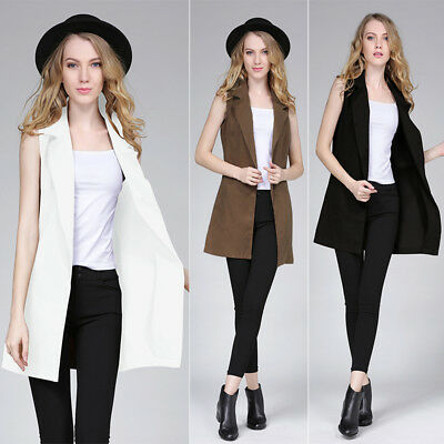 Ladies Womens Sleeveless Long Waistcoat Blazer Jacket Vest Coat Tops Blouse