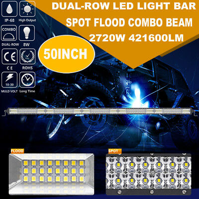 CREE 50inch 2720W LED Work Light Bar Dual Row Spot Flood For Ford Offroad SUV 52