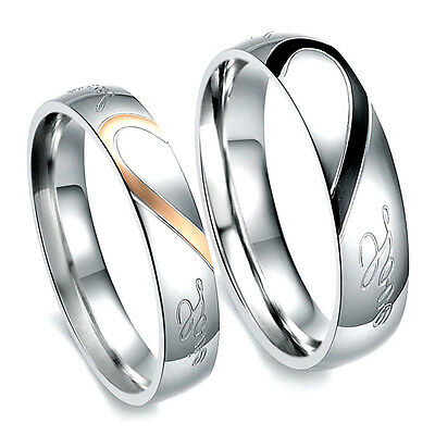 New Stainless Steel Real Love Couples Heart Promise Ring Engagement Wedding Band