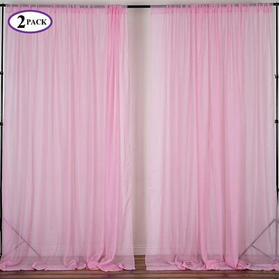 Pink 10 X Ft Voile BACKDROP CURTAINS 2 Panels 5x10 Home Party Decorations