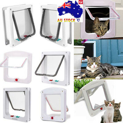 4 Way S/M/L Pet Cat Dog Flap Door Lockable Safe Security Brushy Screen Petway