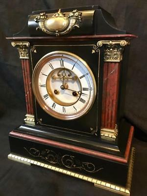 Antique clock French marble and ormolu month running signed R&C Paris London