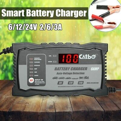6/12/24V Chargeur de Batterie Intelligent Automatique pr Voiture / Moto 2/6/3 A