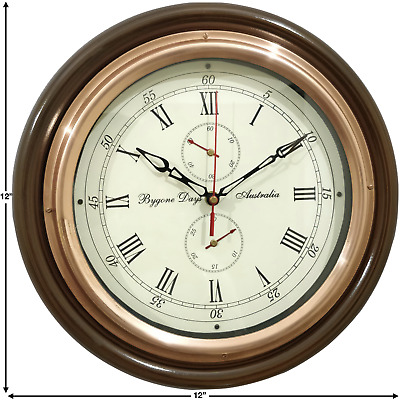 Antique Vintage Style With Round Copper Ring Bygone Days Australia Wall Clock