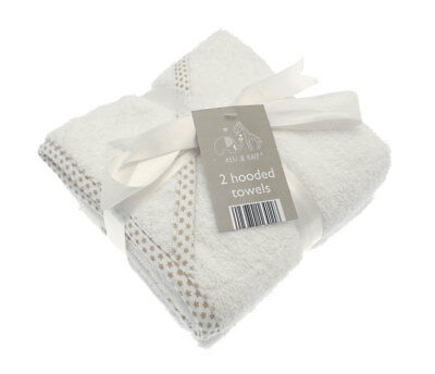2 Pack of White Baby hooded Bath Towels